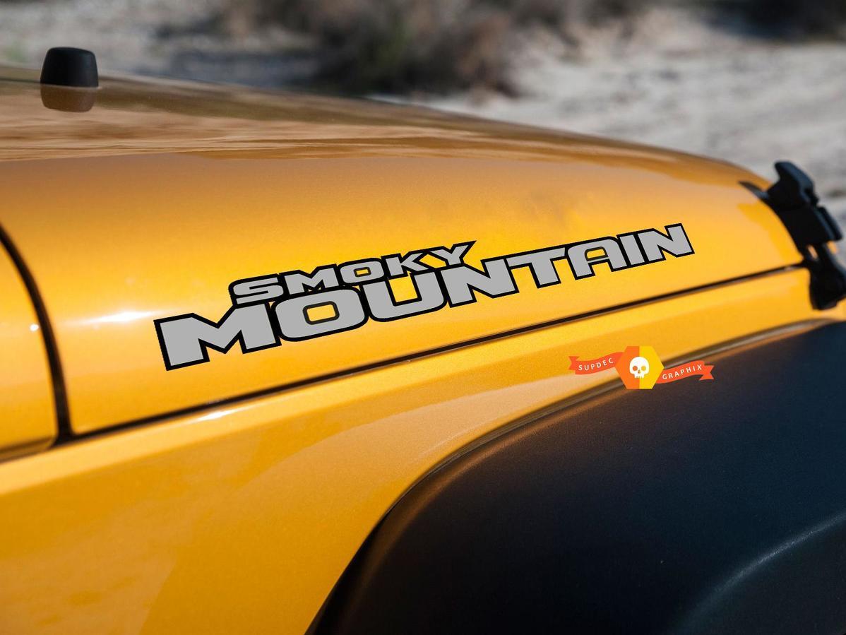 Product smoky mountain jk tj yj hood jeep wrangler decal sticker 2 colors
