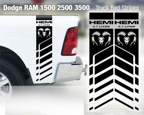 Dodge Ram 1500 2500 3500 Hemi 4x4 Aufkleber LKW-Ladefläche Streifen Vinyl Aufkleber Racing H1