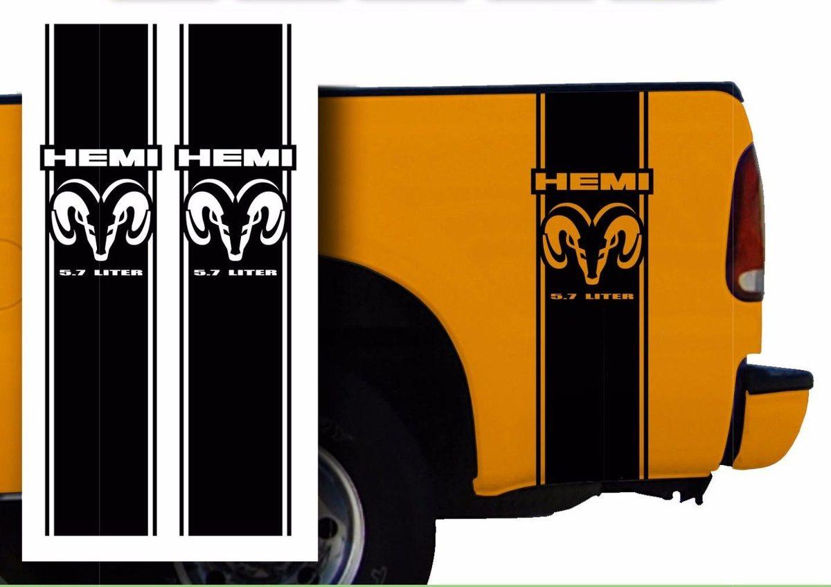 Hemi Dodge Mopar Pickup Truck Bed Stripes Aufkleber Aufkleber / Farbe wählen