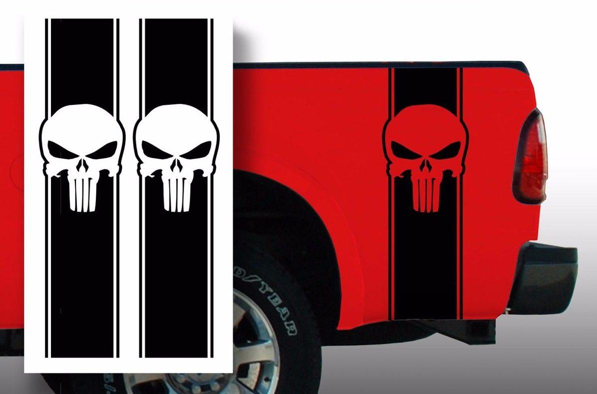 Punisher Chevy Ford Dodge Pickup LKW Ladefläche Streifen Aufkleber Aufkleber / Wählen Sie Farbe