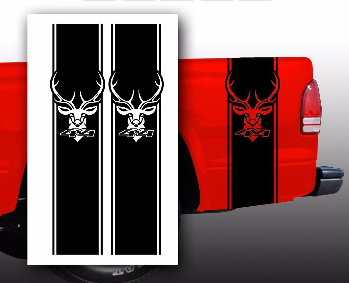 Product deer 4x4 chevy ford dodge pickup truck bed stripes decal stickers