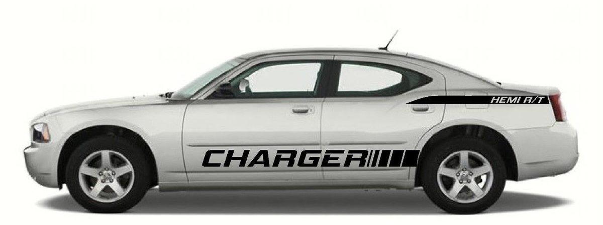 x2 Seitenstreifen an der Seitenverkleidung - Hemi R / T-Vinyl-Aufkleber für Dodge Charger