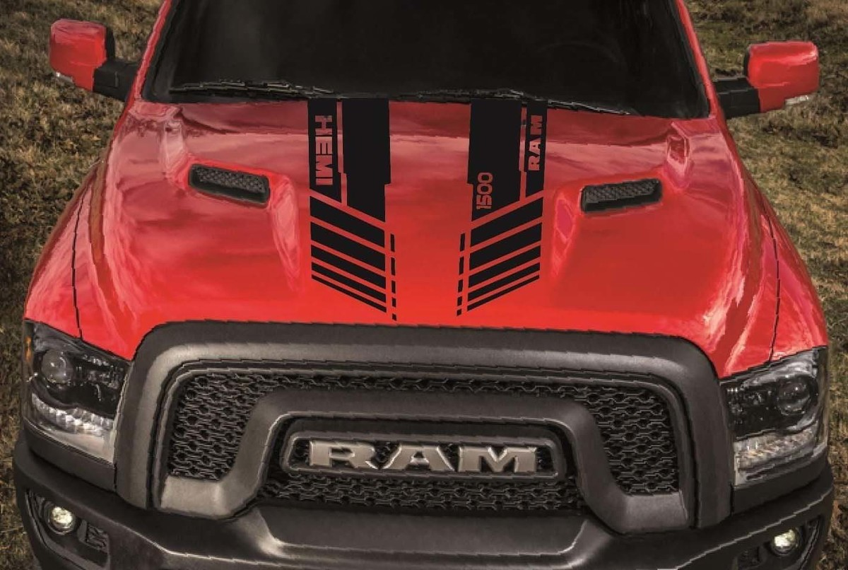 Product dodge ram 1500 hood twin stripes vinyl decal stickers custom hemi