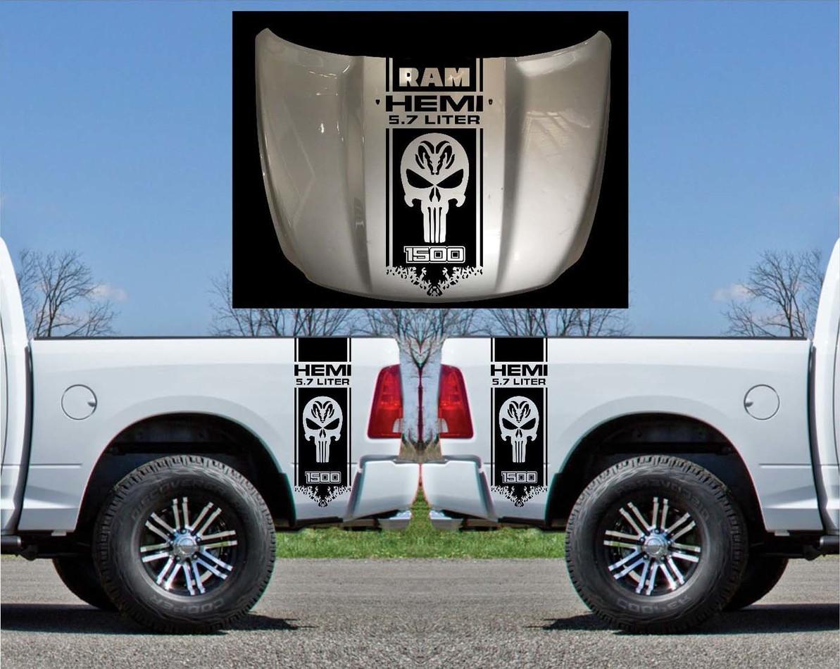 3X Dodge Hemi 5,7 Liter Ram Bett Seite und Haube Vinyl Decals Grafik Kit Streifen