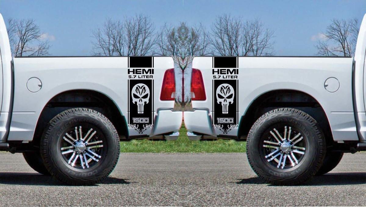 2x Dodge Hemi 5,7 Liter Ram 1500 Bed Side Vinyl Decals Grafik Rallye Streifen