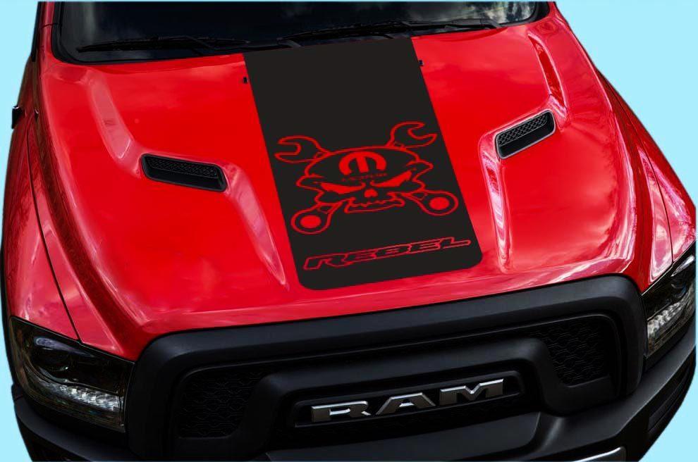 2015-16-17 Dodge Ram Hemi Rebellenhauben-LKW-Aufkleber Grafik Reb-12