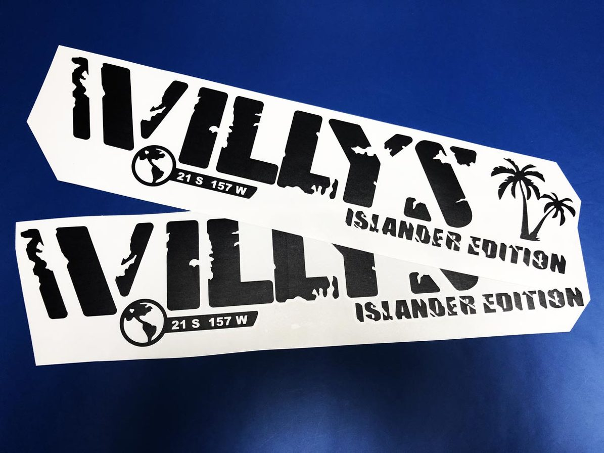 2x Jeep Wrangler Willys islander Hood Decal Stickers graphics