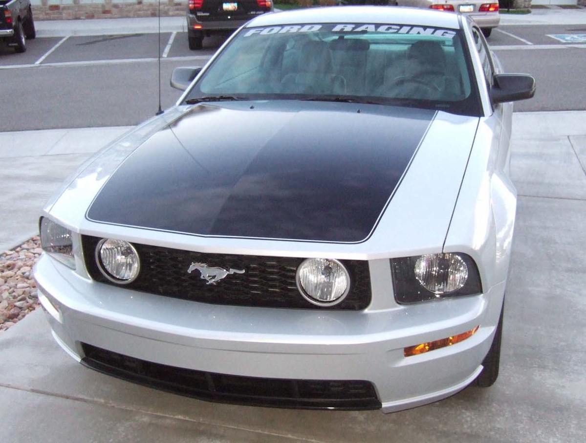 05 09 mustang hood blackout with pinstripes decal graphics stripes