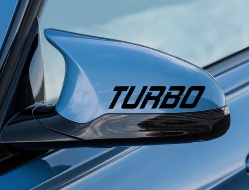 Turbo Decal 2pack - vinyl sticker car logo hood skirt - fits Audi a4 a3 - SS23