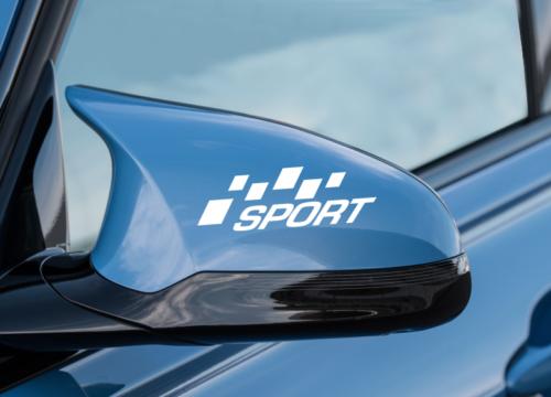 2 pack Sport Flag Mirror - WHITE Side Stripe Decal Sticker Vinyl Racing Stripe
