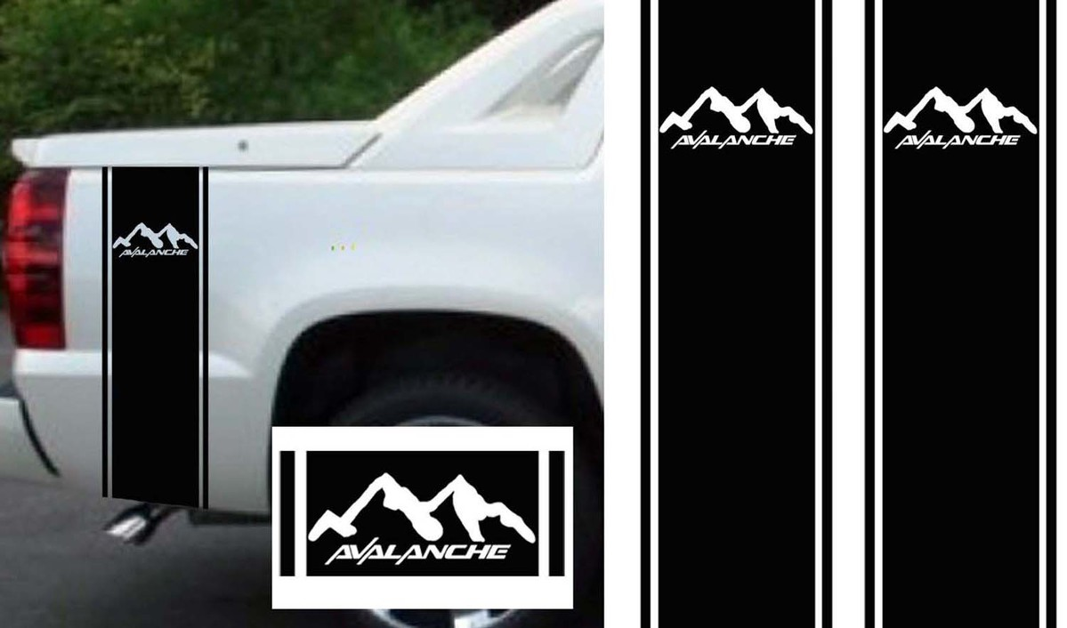 BLACK CHEVY AVALANCHE TRUCK BED SIDE STRIPES DECAL KIT CUSTOM SIZING
