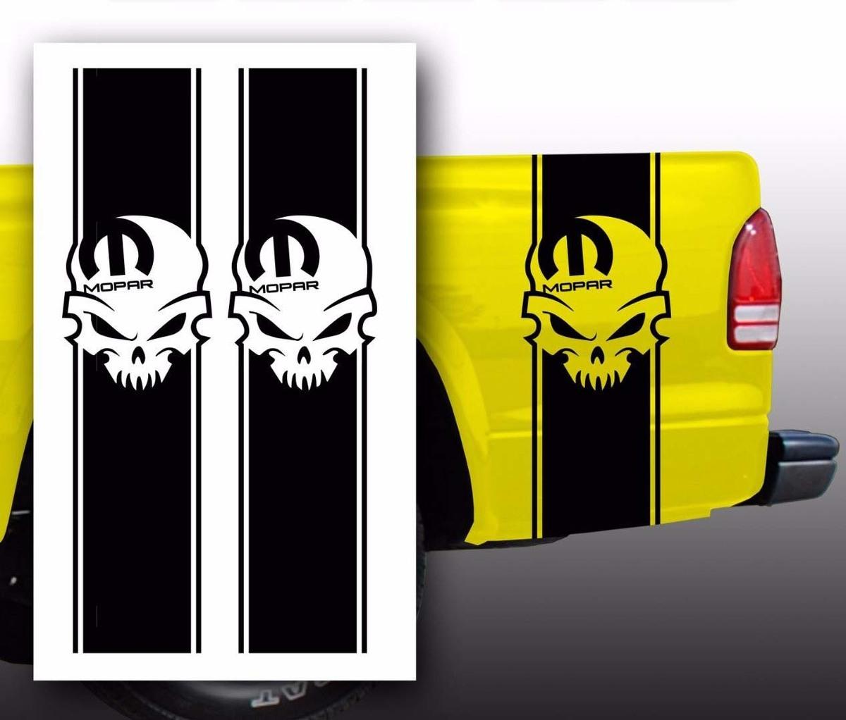 Mopar Schädel Dodge Pickup Truck Bed Stripes Aufkleber Aufkleber