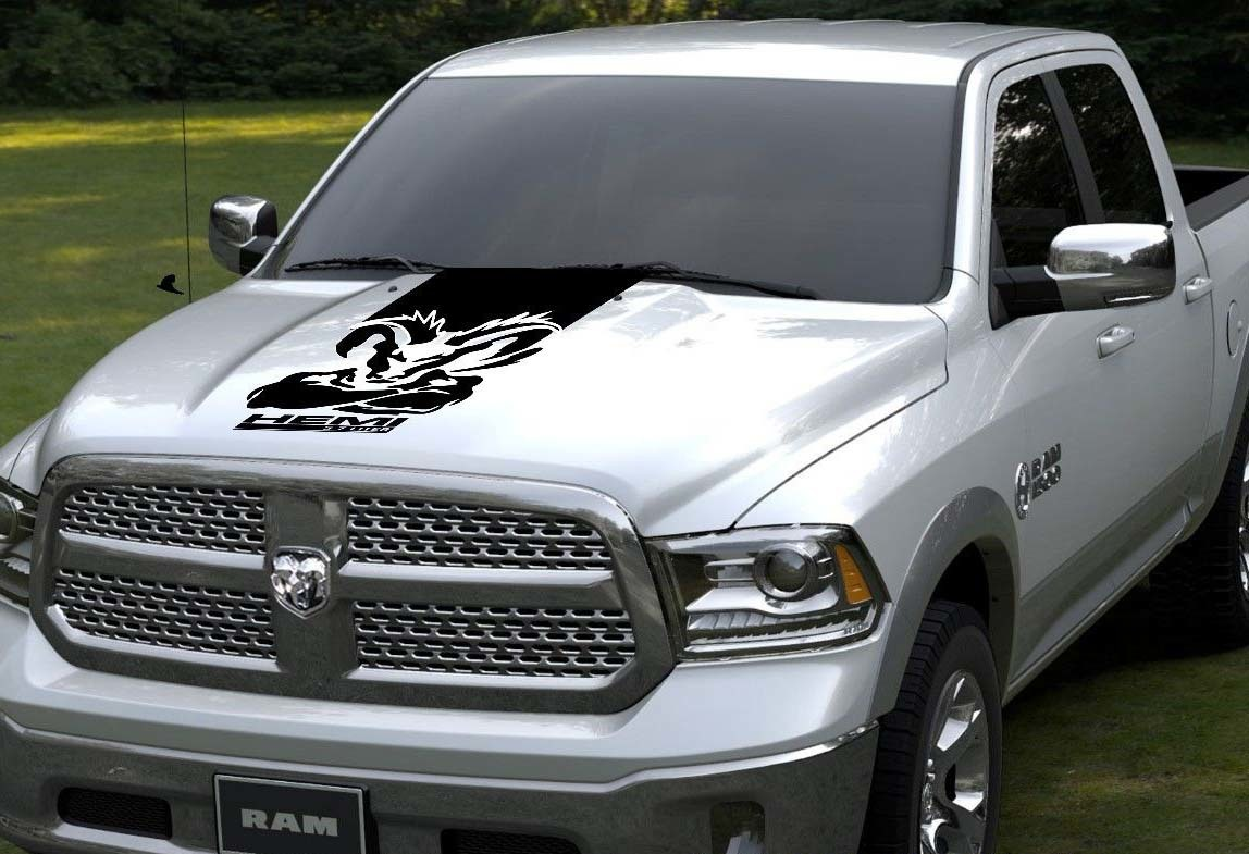 Product hood vinyl decal rally stripe dodge ram 1500 graphics hemi mopar 5 7l design rt