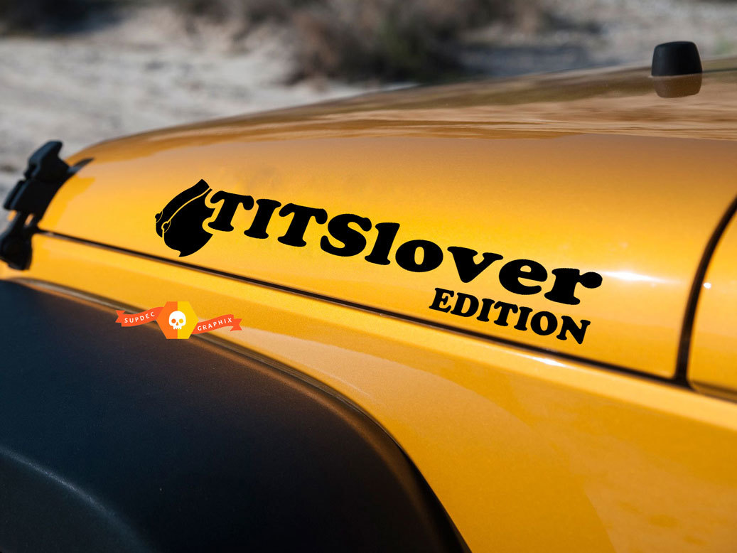 Product funny tits lover edition hood decals for jeep wrangler hoods