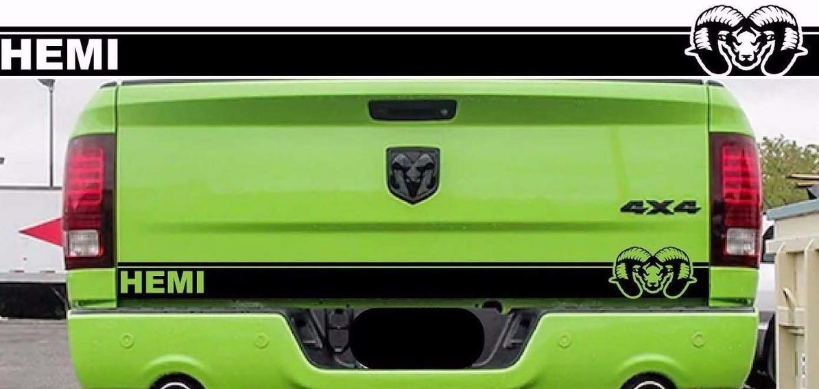Ram 1500 Mopar Schädel Heckklappenstreifen Aufkleber Hemi Dodge Truck 2009-2018 DR14