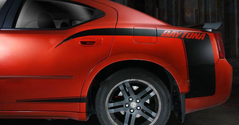 2006-2010 Dodge Charger DAYTONA Viertel Rückseite C-Stripes Kit Abziehbilder