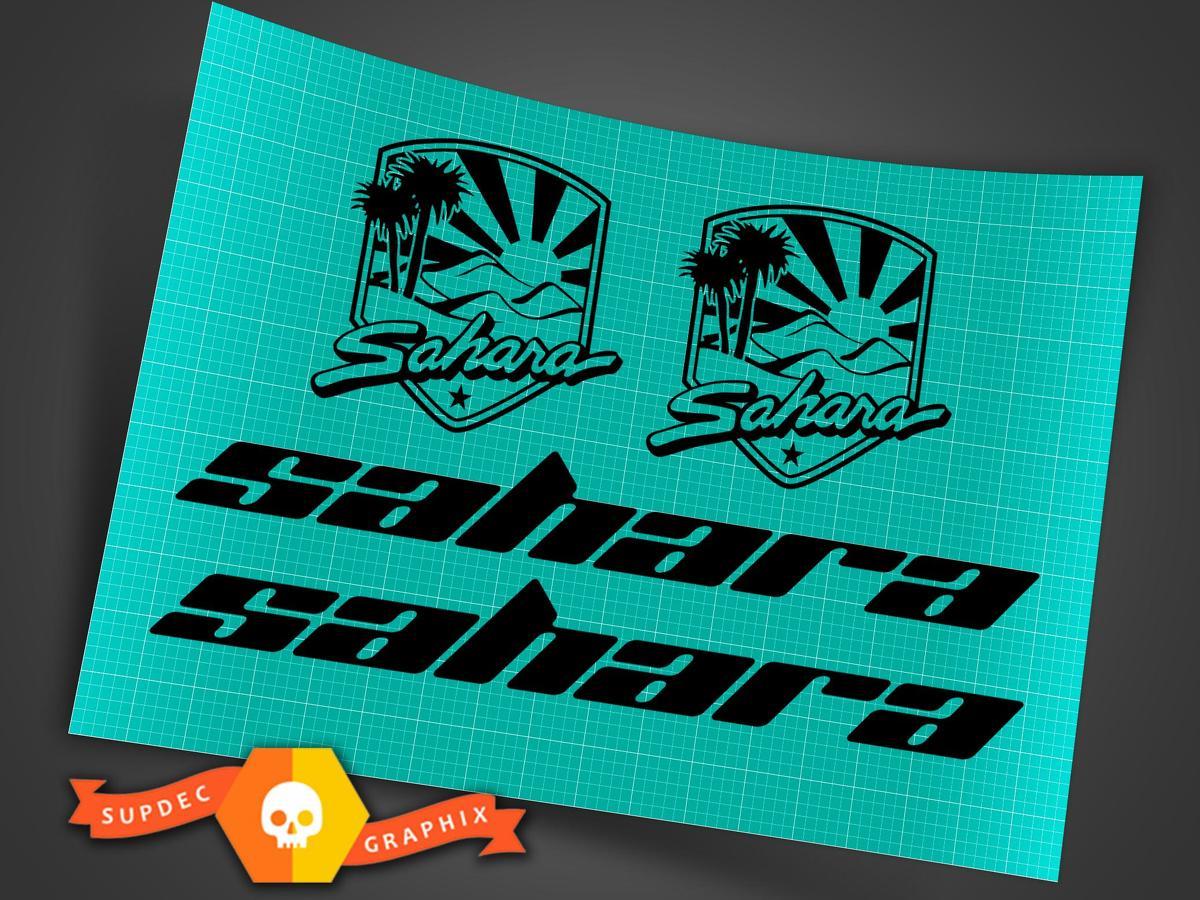Jeep Wrangler Side Hood Decal Kit Sahara Badge Matte Black Sticker TJ LJ JK