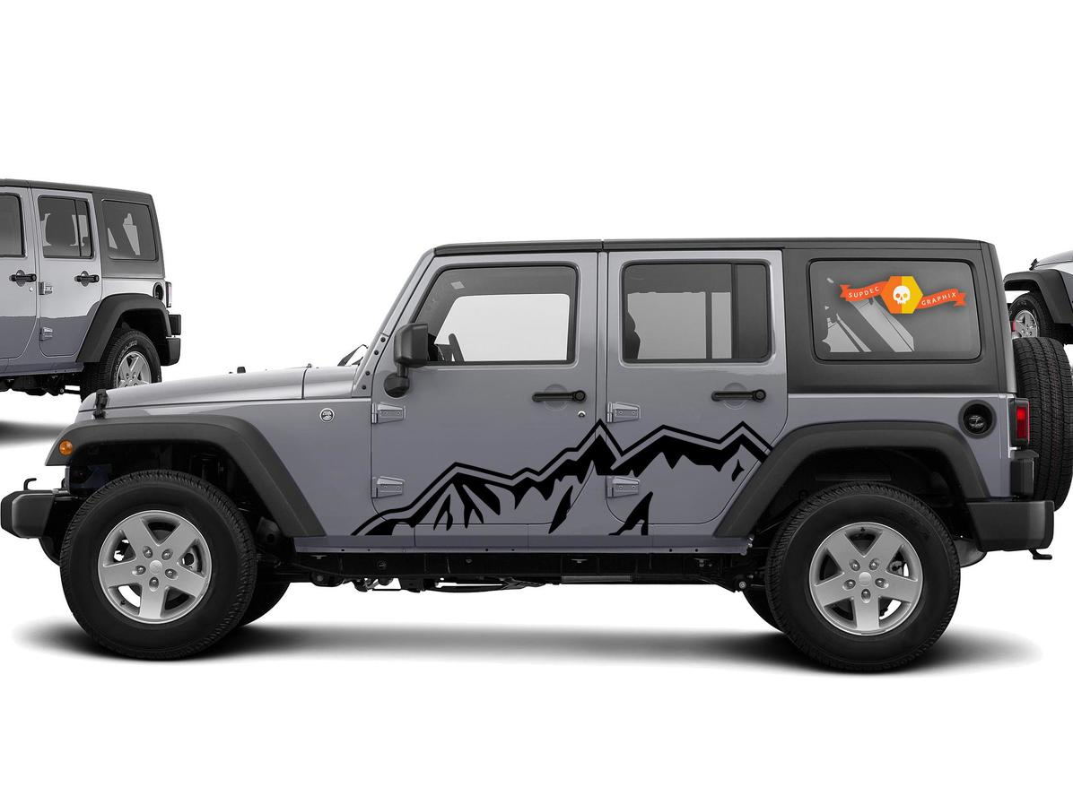 Product jeep wrangler side hood door fender decal rubicon sahara willys customize text