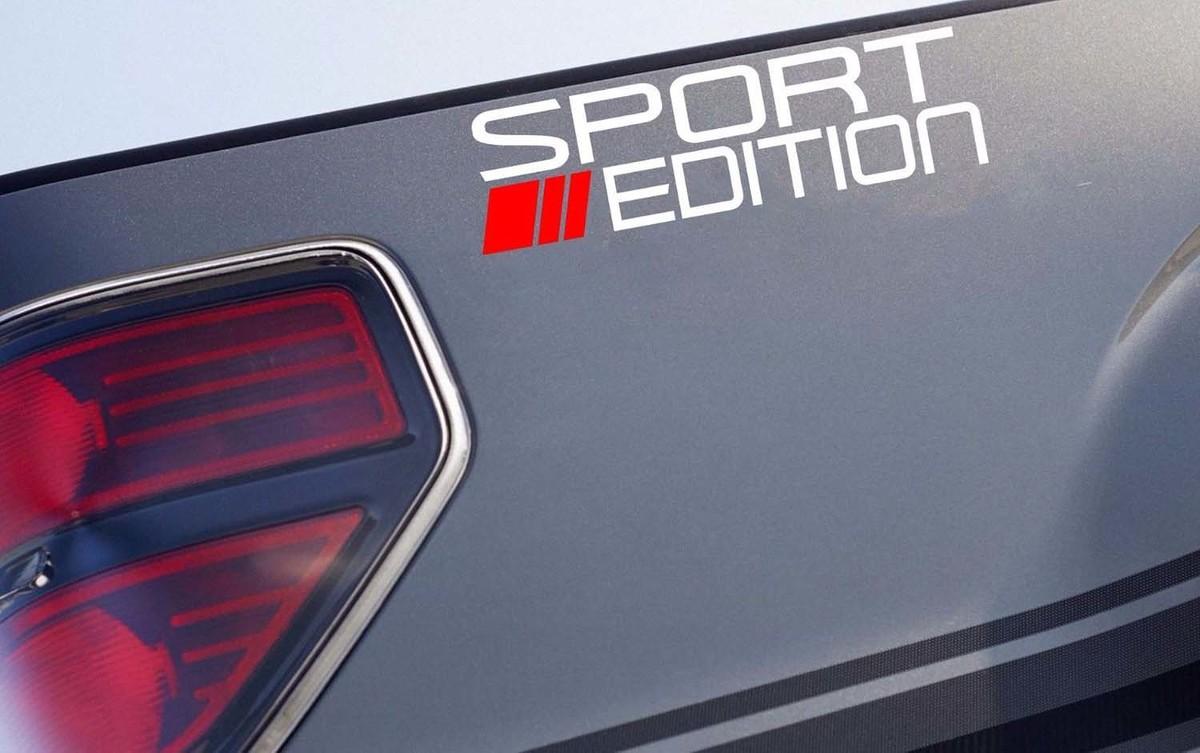 SPORT EDITION Roter Streifen Aufkleber Truck Pickup Racing 4x4 Aufkleber Logo Emblem Weiß