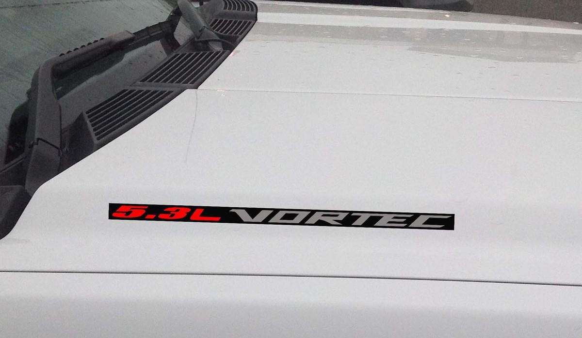 5.3L Vortec Hood Vinyl Aufkleber Aufkleber: Chevrolet Silverado GMC Sierra (Block) Schwarzer Hintergrund