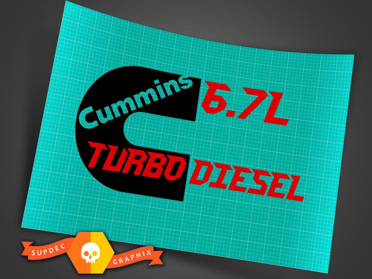 6.7 L CUMMINS TURBO DIESEL REAR BOX DECAL KIT 2 DECALS FOR LEFT / RIGHT