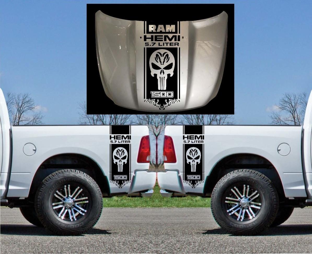 Product 3x Dodge Hemi 5 7 Liter Ram Bed Side And Hood Vinyl Decals Graphics Kit Stripe