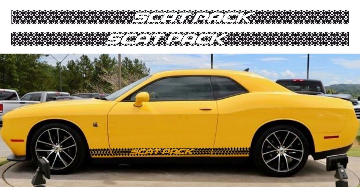 2X Dodge Challenger HEMI  Rocker Panel decals Stripe Vinyl Graphics