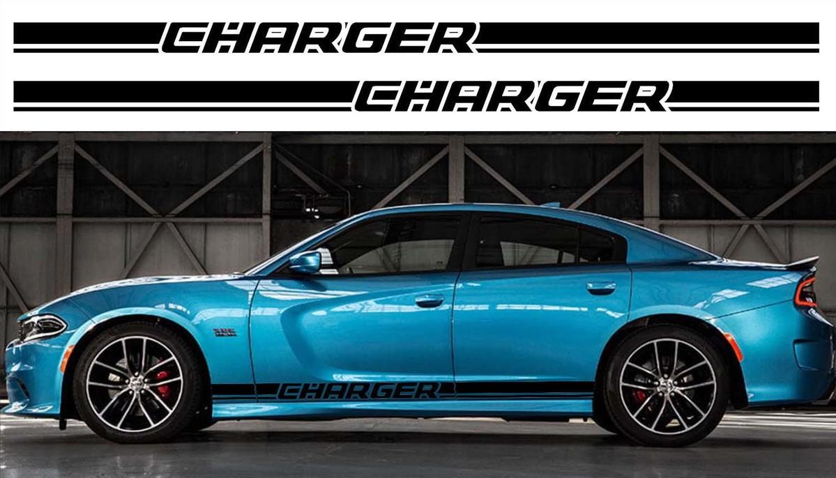 2X Dodge Charger Rocker Panel Aufkleber Stripe Vinyl Graphics Kit 2011-2018