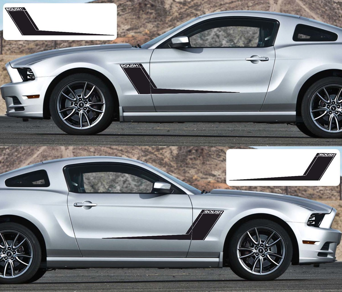2x Ford Mustang Side Roush Vinyl Decals Graphics Rally Stripe Kit