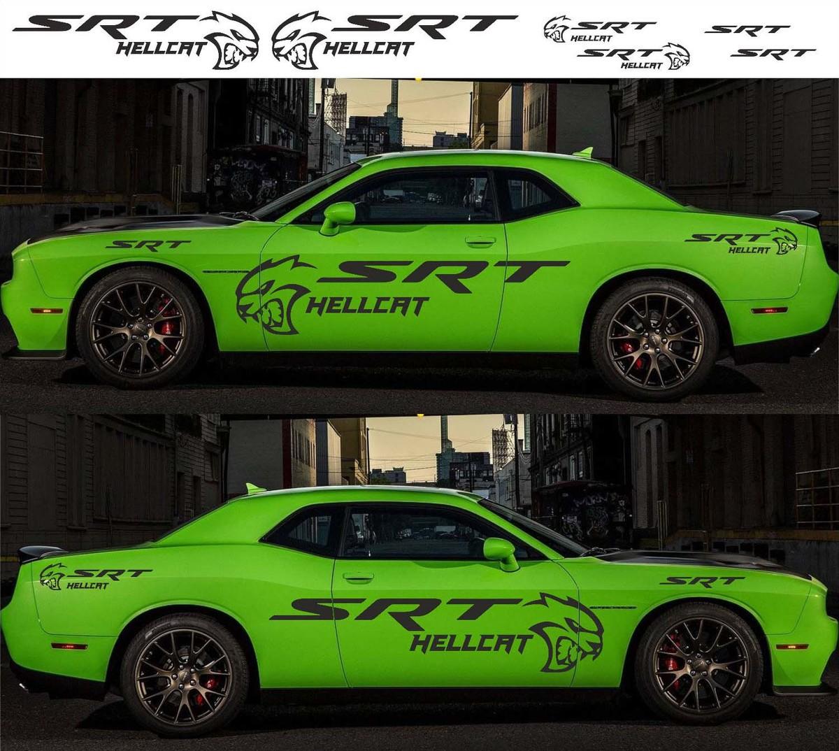 6X Dodge Challenger Hellcat SRT 2009 - 2018 Seitlicher Vinyl-Aufkleberstreifen