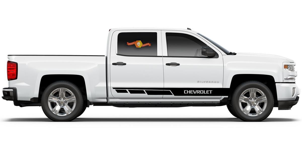 Chevrolet Silverado mk3 Seitenstreifen Grafik Aufkleber Türverkleidung Aufkleber schwarz Vinyl
