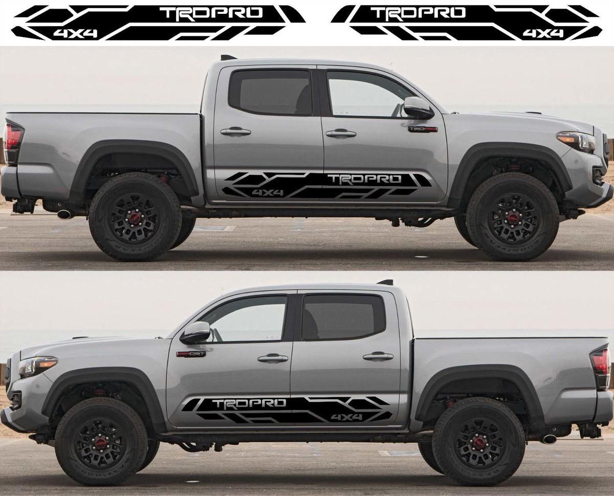 2X Toyota Tacoma 2016-2020 Trd Pro Seitenschweller Vinyl Decals Grafik Rallye Aufkleber Kit