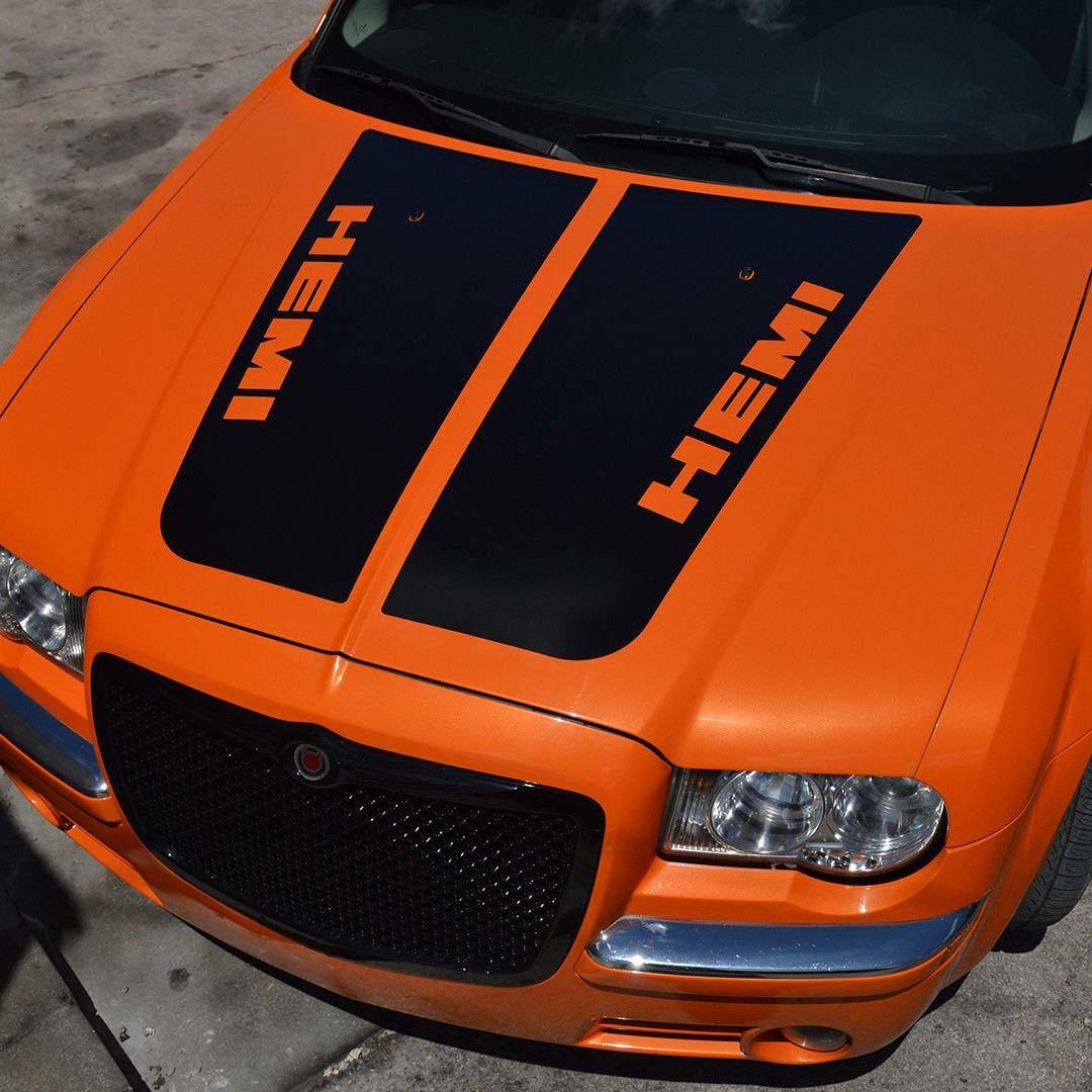 2005-2010 Chrysler 300C SRT-8 HEMI-Stil Haubenaufkleber Top Blackout vorgeschnitten