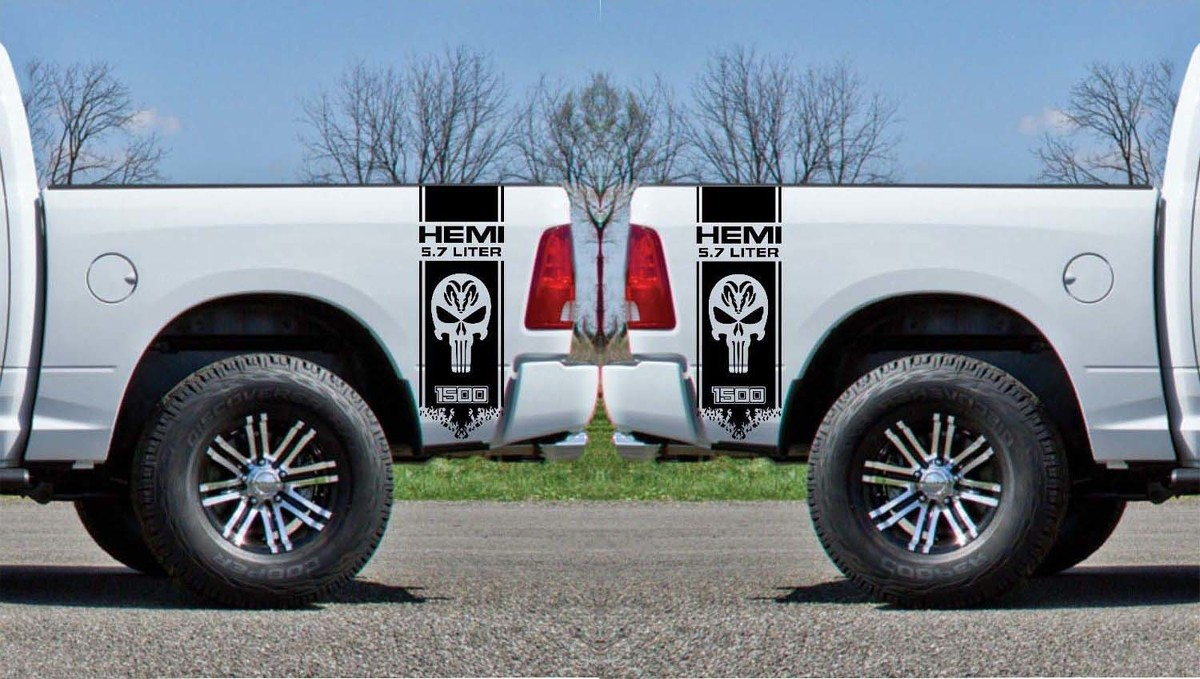 Product 2x Dodge Hemi 5 7 Liter Ram 1500 Bed Side Vinyl Decals Graphics Rally Stripe