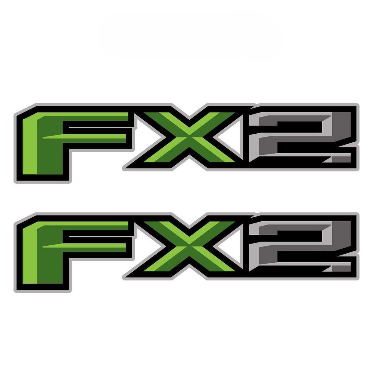 2er-Set: 2018 Ford F-150 FX2 Offroad-Vinyl-Aufkleber-Pickup-Seitenbett - grün