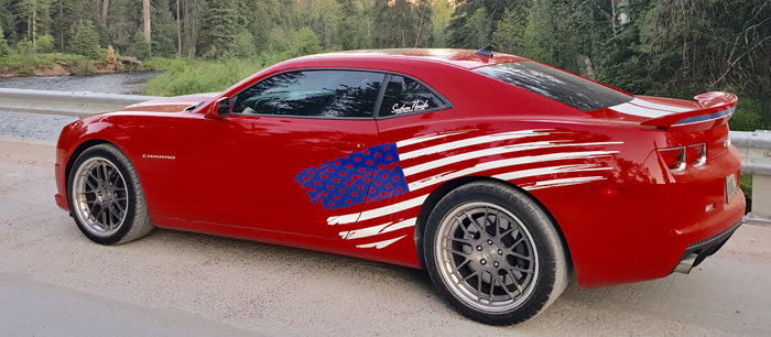 Side Accent American Flag Stripe Kit Universal Fit for many Vehicles..!!!