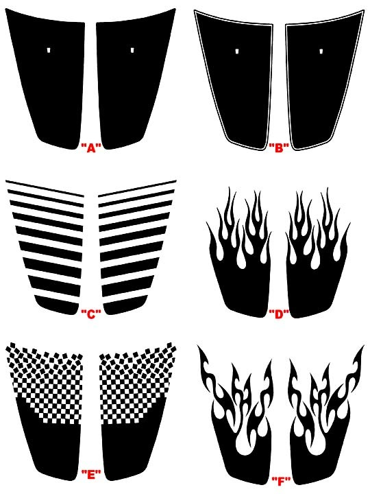 2011 - 2014 Charger Hood Blackout Panel Aufkleber Kits