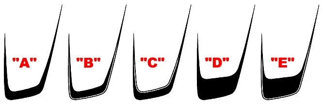 2011 - 2014 Charger Hood Scallop Accent Stripe Kits