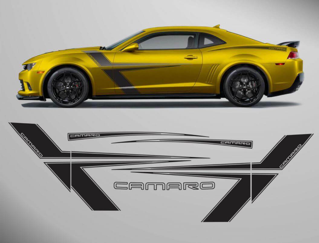 Chevrolet Camaro 2010 - 2015 T - Stripes Side Graphics Aufkleber gesetzt