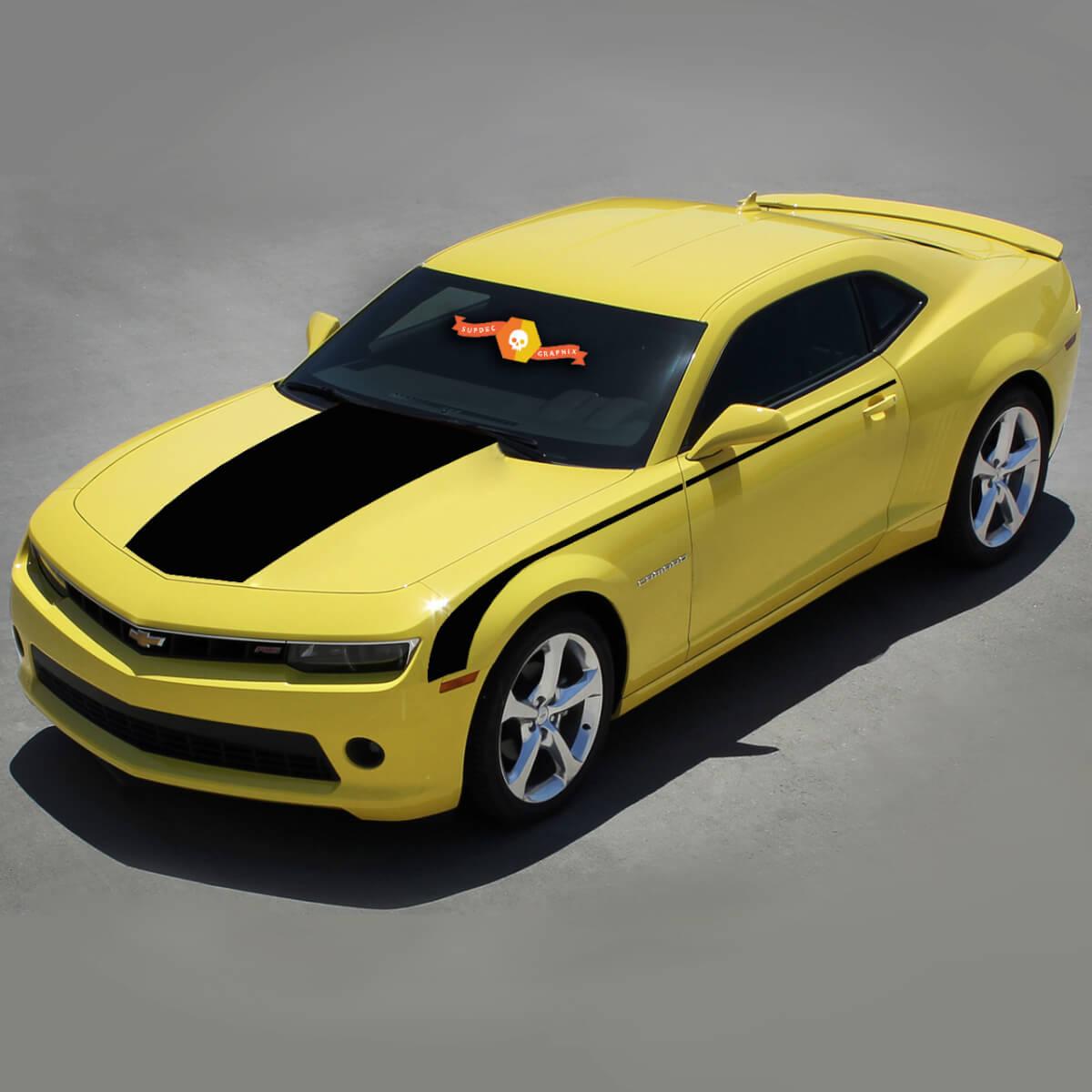 Chevrolet Camaro 2010-2015 Top & Side Hockey Throwback Stripes