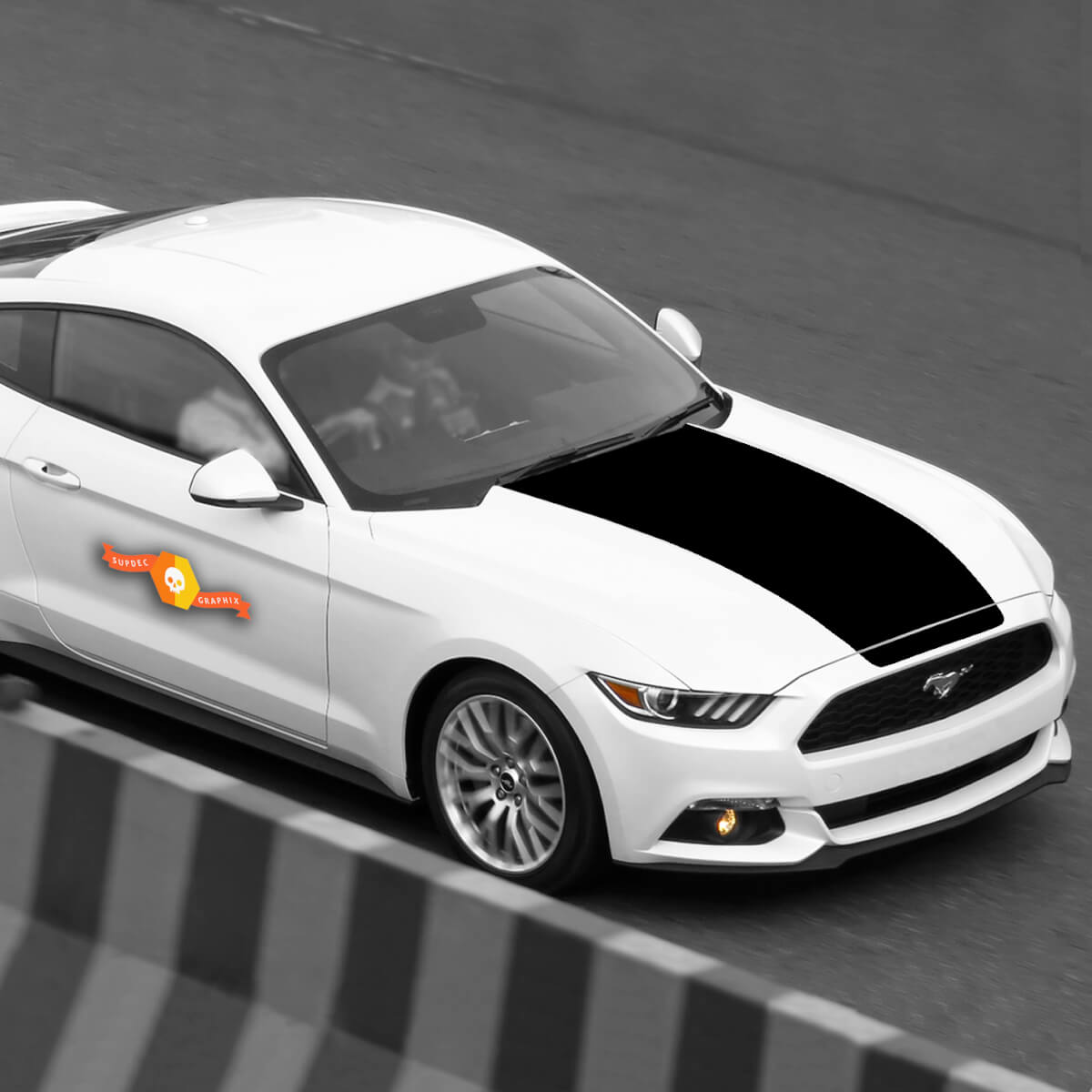 Ford Mustang 2015-2020 Extended Hood Accent Blackout Decal Stripe
