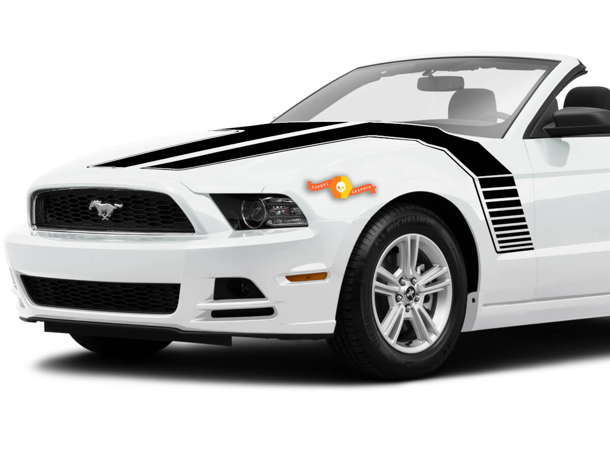 Ford Mustang 2013-2020 Motorhaube zur Seite Doppelstreifen