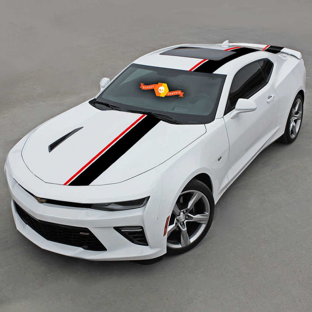 CHEVROLET CAMARO 2016-2020 (RS, LT) TOP OFFSET STRIPES HOOD, ROOF & REAR