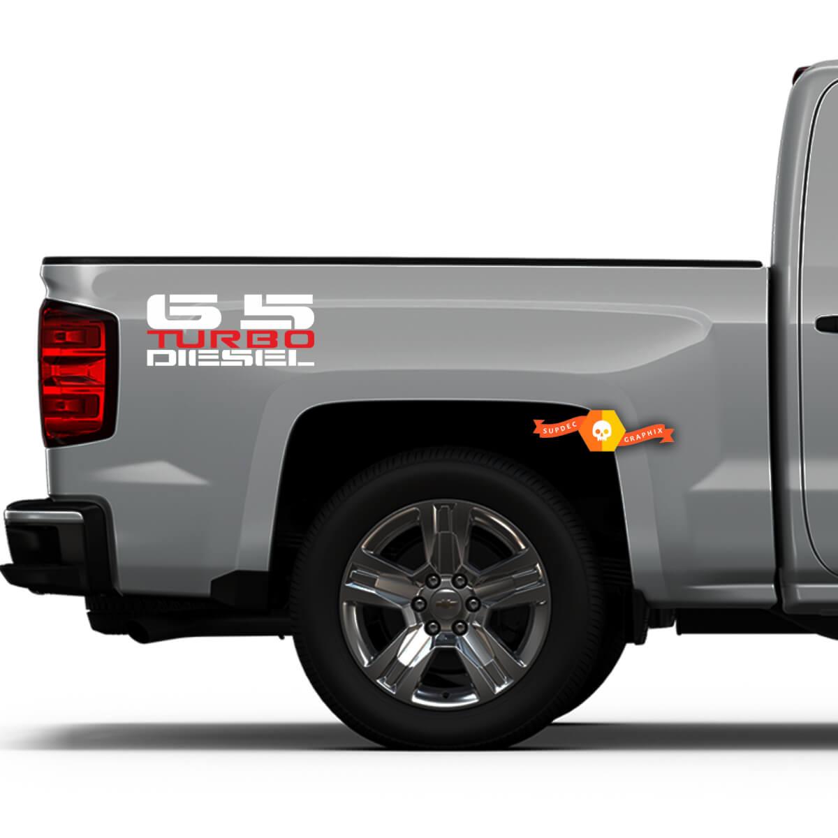 6.5L Turbo Diesel Bedside Decals - Neues Abziehbild Design Passend für: Chevy GMC Trucks Suburban Blazer Yukon Hummer H1