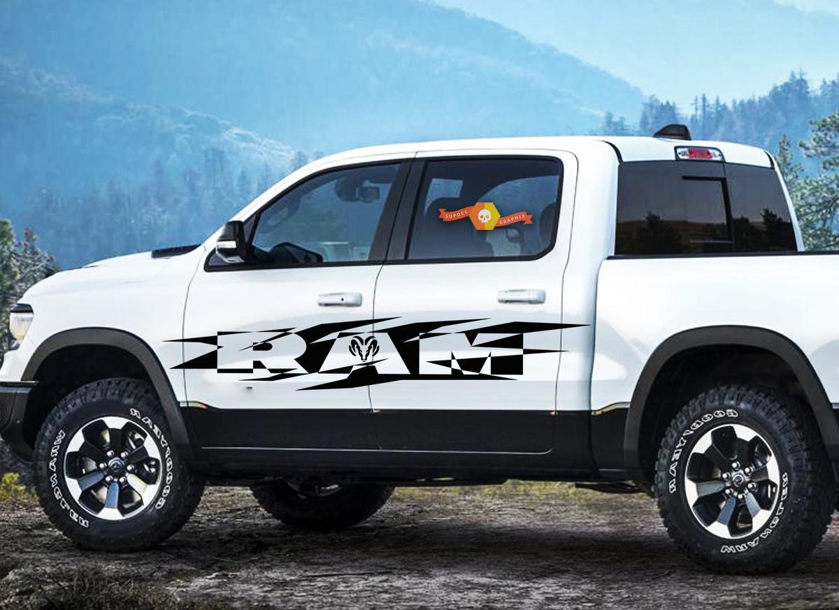 DODGE RAM HEMI 1500 2500 3500 2x Decals Racing graphics vinyl large sticker logo
