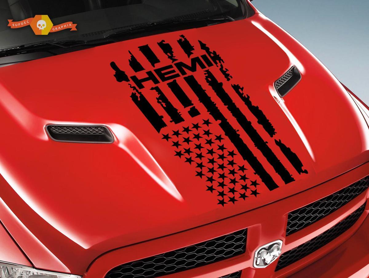 Dodge Ram Hemi 1500 2500 1x Hood Decal Graphics Vinyl Stripe Sticker Flag Logo