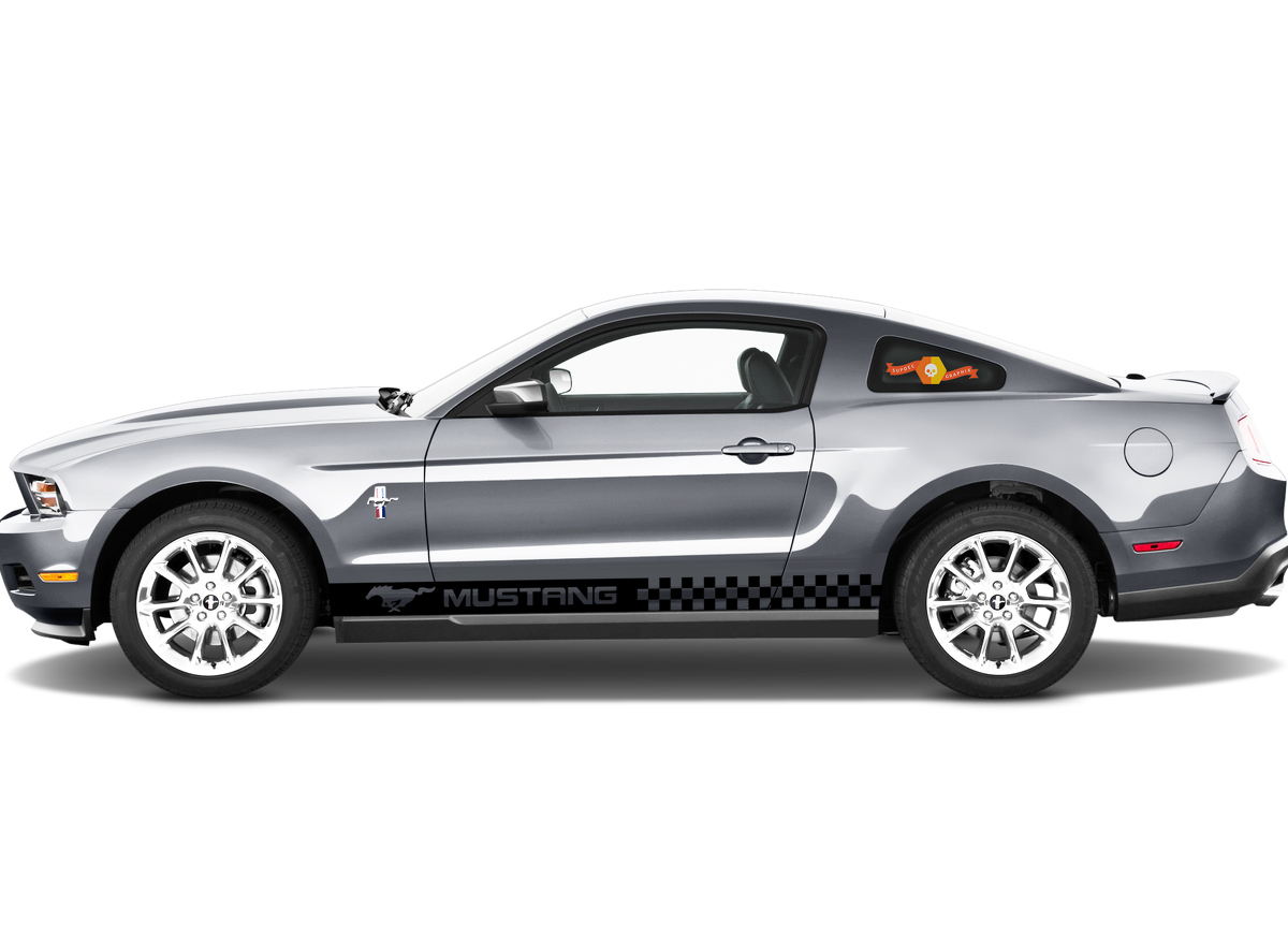 MUSTANG 2x side stripes vinyl body decal sticker graphics logo premium quality