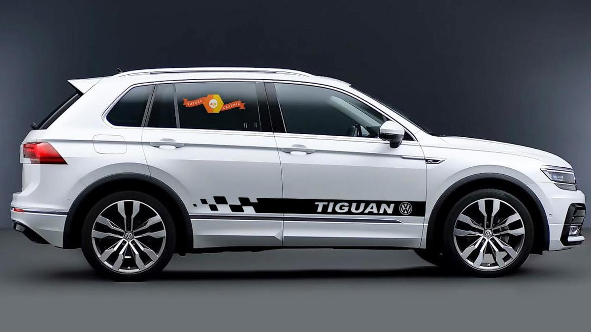 Volkswagen TIGUAN 2x side stripes body decal graphics vinyl stickers emblem logo
