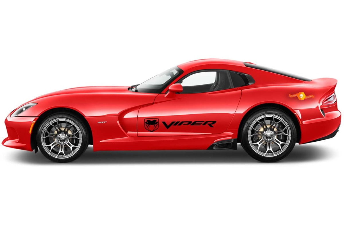 Dodge VIPER 2x side stripes graphics quality vinyl decals racing stickers logo