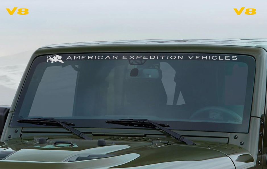 Jeep American Expedition Vehicles  AEV Windshield and Two V8 Decal
